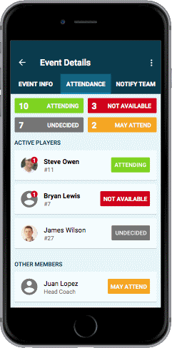 Features for Sports Teams - Attendance & Availability